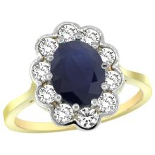Natural 2.73 ctw Blue-sapphire & Diamond Engagement Ring 14K Yellow Gold - SC-C319661Y16-REF#95H2W