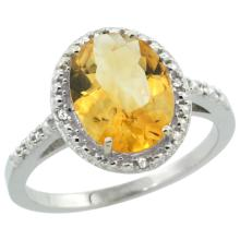 Natural 2.42 ctw Citrine & Diamond Engagement Ring 10K White Gold - SC-CW909111-REF#25W5K