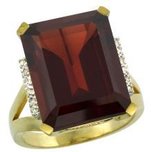 Natural 12.13 ctw Garnet & Diamond Engagement Ring 14K Yellow Gold - SC-CY410143-REF#86A6V