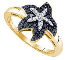 0.20 CTW White & Black Diamond Ladies Ring 10KT Yellow Gold - GD81747-REF#23V3A