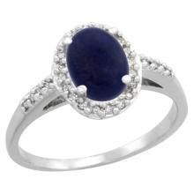 Natural 1.13 ctw Lapis & Diamond Engagement Ring 14K White Gold - SC-CW446137-REF#30W9K