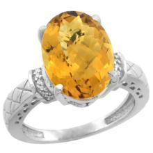 Natural 5.53 ctw Whisky-quartz & Diamond Engagement Ring 10K White Gold - SC-CW926200-REF#42K3R