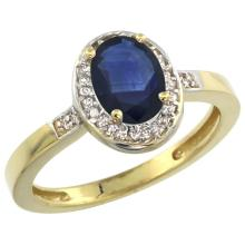 Natural 1.08 ctw Blue-sapphire & Diamond Engagement Ring 14K Yellow Gold - SC-CY416150-REF#34K4R