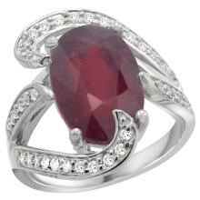 Natural 6.74 ctw ruby & Diamond Engagement Ring 14K White Gold - SC-R308101W14-REF#142F8N