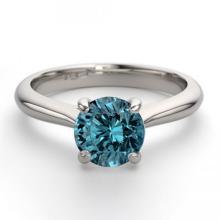 14K White Gold Jewelry 0.83 ctw Blue Diamond Solitaire Ring - REF#153W4K-WJ13233
