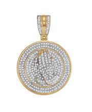 0.85 CTW Mens Natural Diamond Praying Prayer Hands Medallion Charm Pendant 10K Yellow Gold - REF-71H3X