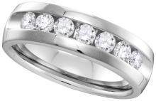 1 CTW Mens Diamond Channel-set Anniversary Band 14K White Gold - REF-146N9Y