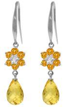 Genuine 5.51 ctw Citrine & Diamond Earrings Jewelry 14KT White Gold - REF-47M4T