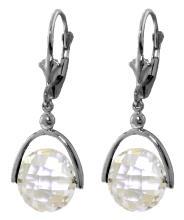 Genuine 7.5 ctw White Topaz Earrings Jewelry 14KT White Gold - REF-43N2R