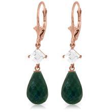 Genuine 18.6 ctw Green Sapphire Corundum & White Topaz Earrings Jewelry 14KT Rose Gold - REF-46H7X