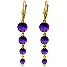 Genuine 7.8 ctw Amethyst Earrings Jewelry 14KT Yellow Gold - REF-46A3K