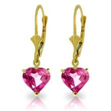 Genuine 3.25 ctw Pink Topaz Earrings Jewelry 14KT Yellow Gold - REF-29A2K