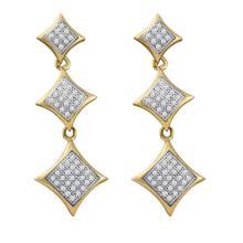 0.30 CTW Diamond Triple Square Kite Dangle Earrings 10KT Yellow Gold - REF-34N4F