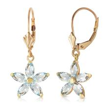 Genuine 2.8 ctw Aquamarine Earrings Jewelry 14KT Yellow Gold - REF-51W5Y