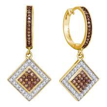 0.50 CTWCognac-brown Color Diamond Diagonal Earrings 10KT Yellow Gold - REF-30N2F