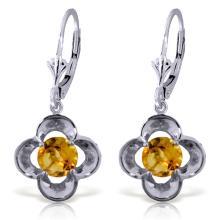 Genuine 1.10 ctw Citrine Earrings Jewelry 14KT White Gold - REF-37Y7F