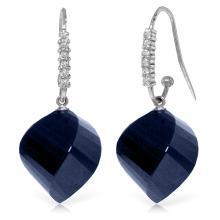 Genuine 30.68 ctw Sapphire & Diamond Earrings Jewelry 14KT White Gold - REF-67W3Y
