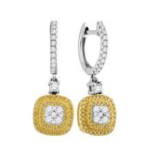 0.76 CTW Yellow Diamond Square Cluster Dangle Earrings 18KT White Gold - REF-132W2K