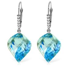 Genuine 28 ctw Blue Topaz & Diamond Earrings Jewelry 14KT White Gold - REF-87F7Z