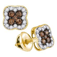 0.50 CTWCognac-brown Color Diamond Square Cluster Earrings 10KT Yellow Gold - REF-25F4N