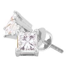 0.67 CTW Princess Diamond Solitaire Stud Earrings 14KT White Gold - REF-108K6W