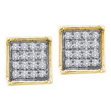 0.05 CTW Diamond Square Cluster Earrings 10KT Yellow Gold - REF-7W4K