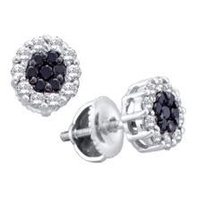 0.50 CTWBlack Color Diamond Flower Screwback Stud Earrings 14k White Gold - REF-34F4N