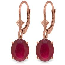 Genuine 7 ctw Ruby Earrings Jewelry 14KT Rose Gold - REF-64F6Z