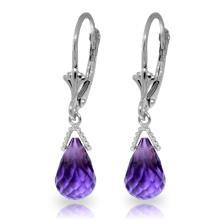 Genuine 4.5 ctw Amethyst Earrings Jewelry 14KT White Gold - REF-22W7Y