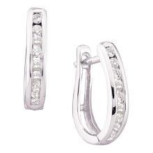 0.25 CTW Diamond Single Row Oblong Hoop Earrings 14KT White Gold - REF-26N9F