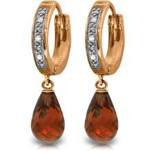 Genuine 4.54 ctw Garnet & Diamond Earrings Jewelry 14KT Rose Gold - REF-52N2R