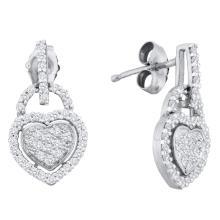0.33 CTW Diamond Heart Dangle Earrings 10KT White Gold - REF-30K2W