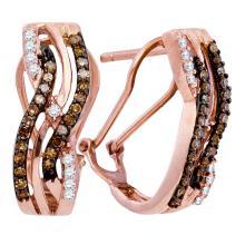 0.50 CTWCognac-brown Color Diamond Hoop Earrings 10KT Rose Gold - REF-30X2Y