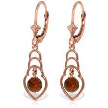 Genuine 1.25 ctw Garnet Earrings Jewelry 14KT Rose Gold - REF-25W6Y