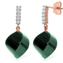 Genuine 30.65 ctw Green Sapphire Corundum & Diamond Earrings Jewelry 14KT Rose Gold - REF-59T9A