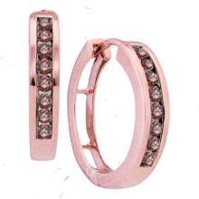 0.50 CTWCognac-brown Color Diamond Hoop Earrings 10KT Rose Gold - REF-30K2W