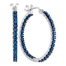 1.6 CTW Blue Color Diamond In/Out Hoop Earrings 10KT White Gold - REF-71W9K