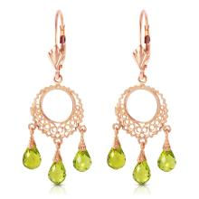 Genuine 3.75 ctw Peridot Earrings Jewelry 14KT Rose Gold - REF-43X8M