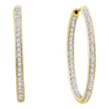 0.50 CTWDiamond In/Out Endless Hoop Earrings 14KT Yellow Gold - REF-67H4M