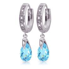 Genuine 2.53 ctw Blue Topaz & Diamond Earrings Jewelry 14KT White Gold - REF-58P2H