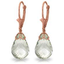 Genuine 14 ctw Green Amethyst Earrings Jewelry 14KT Rose Gold - REF-34W3Y