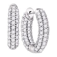 5.1 CTW Diamond In/Out Hoop Earrings 14KT White Gold - REF-382M4H