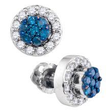 0.53 CTW Blue Color Diamond Flower Cluster Earrings 10KT White Gold - REF-32W9K