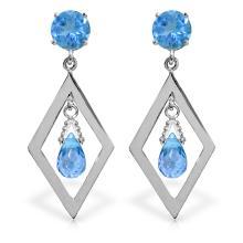 Genuine 2.4 ctw Blue Topaz Earrings Jewelry 14KT White Gold - REF-39N3R