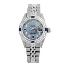 Rolex Pre-owned 26mm Womens Custom Blue Stainless Steel - REF-480Y2W