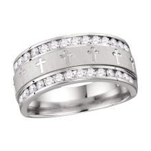 1 CTW Mens Diamond Grecco Cross Wedding Anniversary Ring 14k White Gold - REF-134H9M