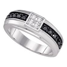 0.45 CTW Mens Black Color Diamond Wedding Anniversary Ring 10KT White Gold - REF-34H4M