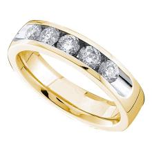 0.50 CTWDiamond Single Row Wedding Ring 14KT Yellow Gold - REF-89N9F
