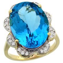 Natural 13.83 ctw swiss-blue-topaz & Diamond Engagement Ring 14K Yellow Gold - REF-124N4G