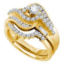 1 CTW Diamond Bridal Wedding Engagement Ring 10KT Yellow Gold - REF-67Y4X